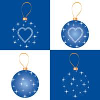 Christmas bauble set. Greeting card design. Snowflake ball decor