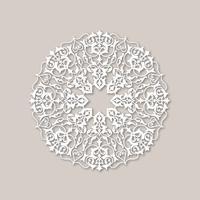 Patrón floral redondo ornamental. Mandala oriental flor adorno