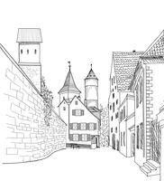 Street view in old city. Medieval Cityscape - houses, buildings
