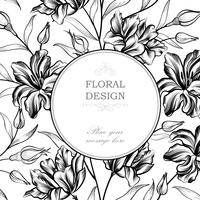 Floral background. Greeting card with flower. Flourish border. G