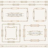 Calligraphic floral frames. Page decor vignette borders, dividers set