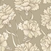 Floral retro seamless pattern. Flower engraved background.
