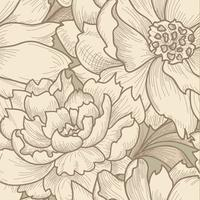 Floral seamless pattern. Flower background. Engraved texture