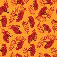 Fall seamless pattern. Autumn leaves background, rowan berry branch
