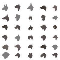 Conjunto de ícones de silhueta de cabeça de cão