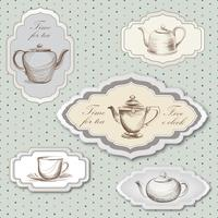 Tea cup, pot, kettle retro card. Tea time vintage label set. Hot drinks
