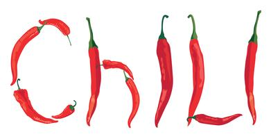 hot chilly pepper over white background with lettering Chili