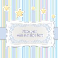 Baby toy lacy frame. Greeting card decor. Kids holiday background