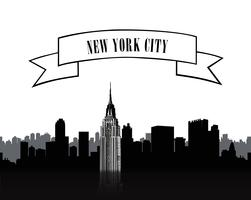 NYC sign. Urban city skyline silhouette. Travel USA background