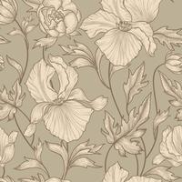 Floral seamless pattern. Flower background Engrave garden texture