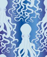 Octopus seamless pattern. Underwater marine life background