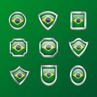 Brasilien-Emblem-Flaggen-Clipart-Satz