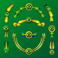 Vlag van Brazilië lint Clipart Set