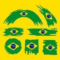 Brush Brasil Flag Clipart Set