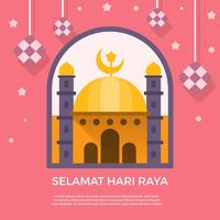 Flat Selamat Hari Raya Greetings Vector Template