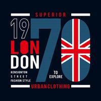 überlegener London-Typografieentwurf für T-Shirt