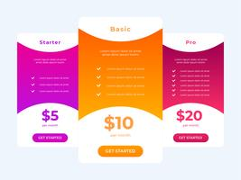 Pricing Table Vector Template