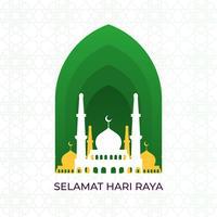 Flat Selamat Hari Raya Eid Mubarak Vector Illustration