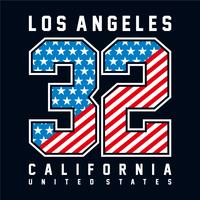Los Angeles California Typography with number american flag.for t shirt print  and other uses