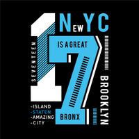 tee di design tipografia di New York City