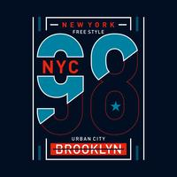 NY Brooklyn Typography Design, grafica t-shirt