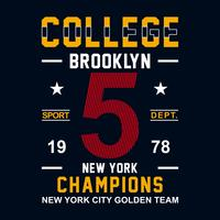 New York Brooklyn Sport wear typography emblem, t-shirt stamp graphics