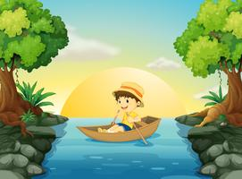 A boy boating