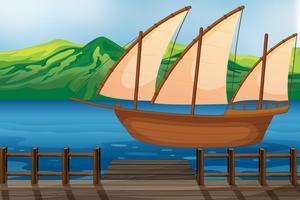 Um navio de madeira