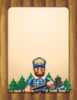 An empty wooden frame border with a lumberjack in front of the pine trees vector