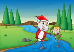 een kerstman en een jongen