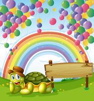 Une tortue à côté du plateau vide avec un arc-en-ciel et des ballons flottants dans le ciel