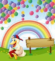 Un'anatra accanto al bordo di legno con palloncini galleggianti e un arcobaleno nel cielo