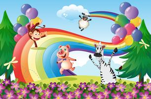 Animals playing at the hilltop with a rainbow