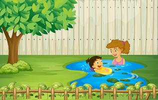 Kids swimming in a pond