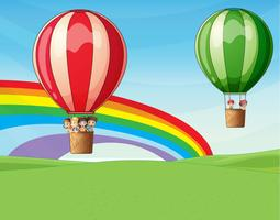 Air balloons carrying kids