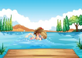 A girl swimming at the sea vector