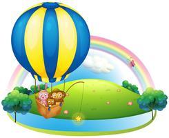 Een heteluchtballon met drie dieren