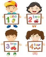 Children with numbers one to four on boards