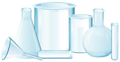 Different types of glass beakers