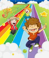 Happy children at the colorful road
