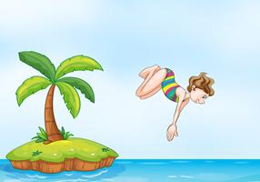 palm tree girl diving on island
