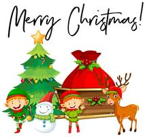 Elves and christmas tree with phrase Merry Christmas