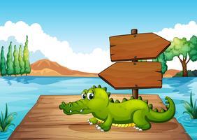 Un cocodrilo cerca del estanque.