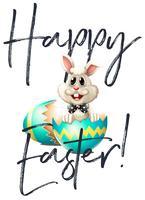 Carta di Pasqua felice con coniglio e uova