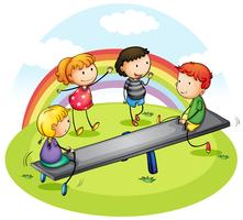 Many children playing seesaw in park