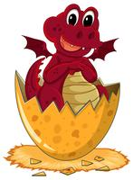 Red dragon hatching egg vector