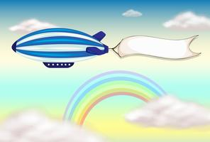 A stripe blimp with an empty banner vector