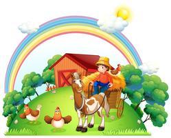 Um menino andando em seu carrinho de fazenda