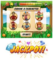 Slot game template with lumber jack characters