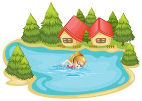 A girl swimming near the pine trees vector